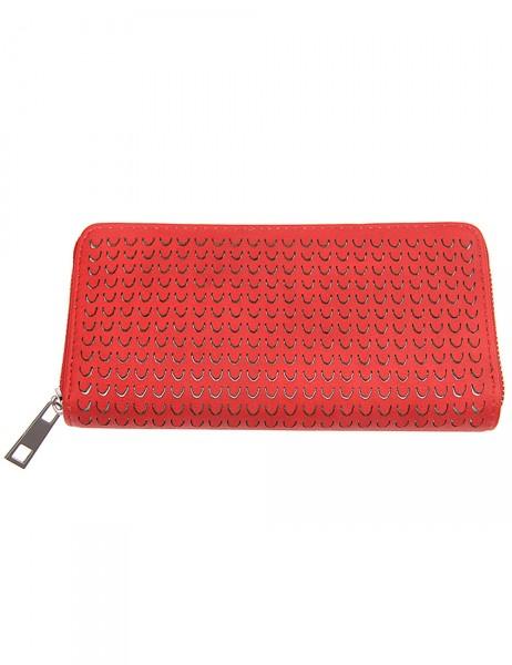 -50% SALE Leslii Damen Geldbeutel / Clutch Modern Style Rot Lederimitat 19cm x 10cm 400315945