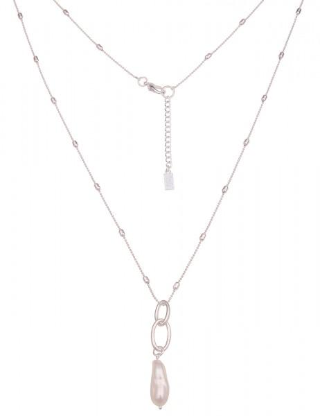 Leslii Damen-Kette Muschel-Anhänger Kugel-Kette Muschel-Kette lange Halskette silberne Modeschmuck-K