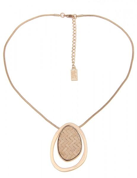 Leslii Damenkette Country Style aus Metalllegierung mit Bast Länge 41cm in Gold Beige