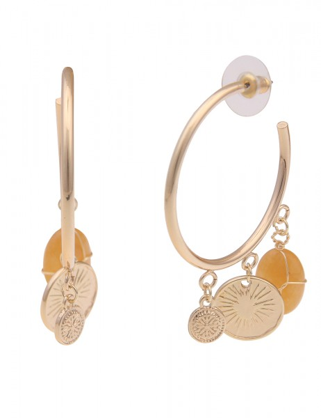 Leslii Damen-Ohrringe Klassische Creolen Natur-Stein Münzen |Gold| Modeschmuck