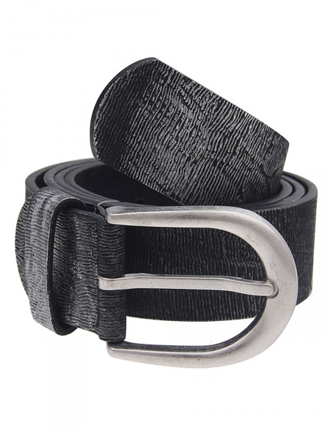 Leslii Damen-Gürtel Metallic Muster Schwarz Silber 100% Polyurethan Breite 3,3cm 500116152