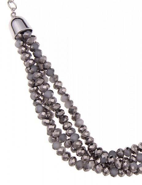 Leslii Damen-Kette Polish Silber Grau Glasperlen Metalllegierung 55cm + Verlängerung 210114643