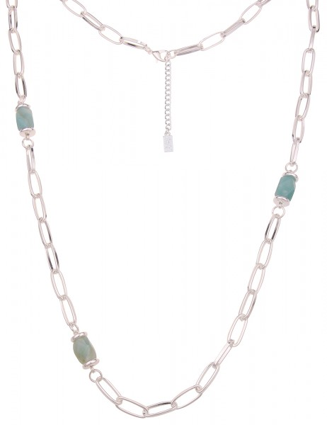 Leslii Damen-Kette Naturstein-Kette Glieder-Kette Stein-Kette lange Halskette | Silber