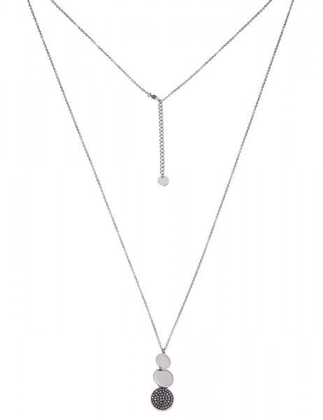 Leslii Damenkette Strass Glanz aus Metalllegierung Länge 84cm in Silber Grau Hochglanz