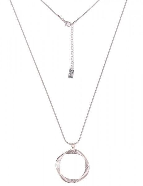 Leslii Damenkette Glitzer Ring aus Metalllegierung mit Strass Länge 84cm in Silber Hochglanz