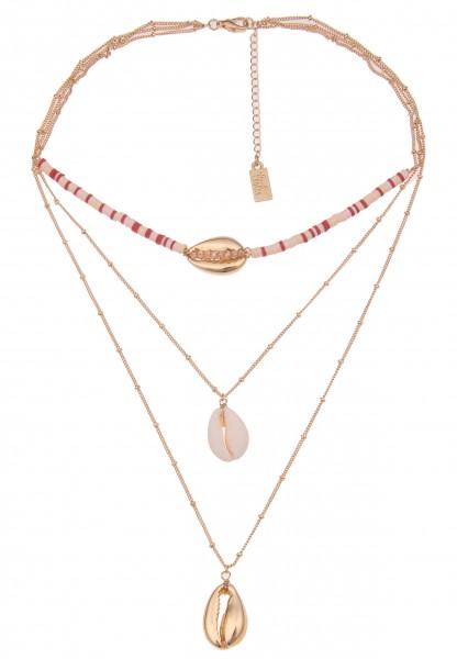 Leslii Damenkette Layering-Kette Muschelkette Halskette mehrreihig Modeschmuck-Kette Länge 39cm in G