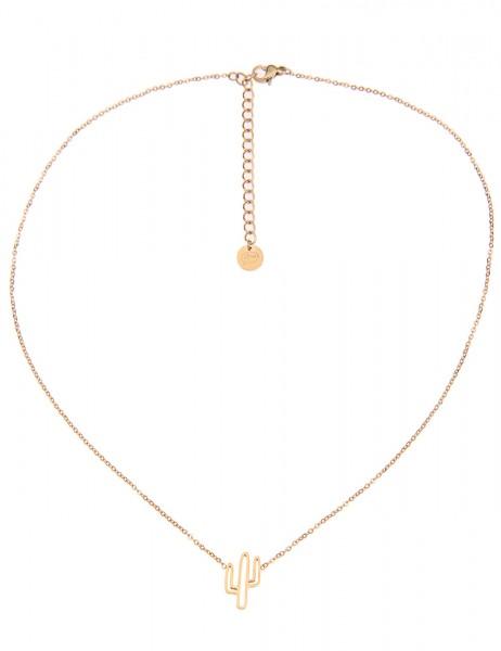 -50% SALE Leslii 4teen Damenkette Kaktus aus Metalllegierung Länge 39cm in Gold
