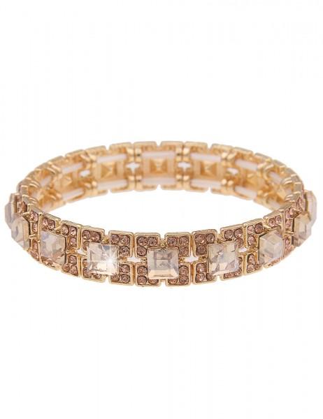 Leslii Damen-Armband Glitzer-Armband Quadrate Armreif glänzender Armschmuck goldenes Modeschmuck-Arm
