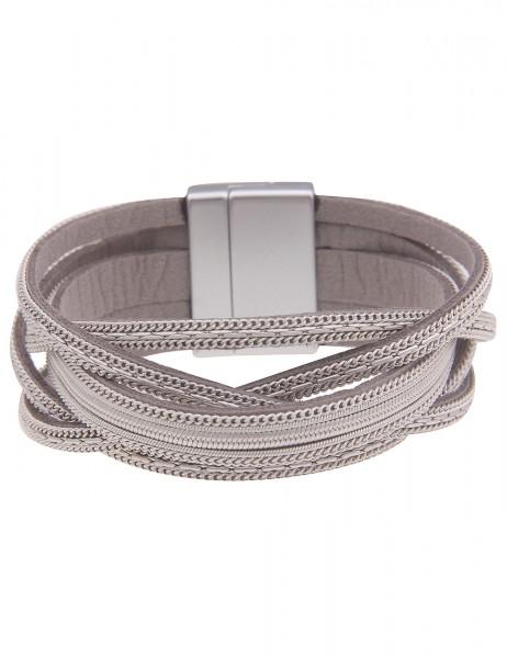 Leslii Damen-Armband Statement Flecht-Muster veganes Leder-Armband graues Modeschmuck-Armband Armsch