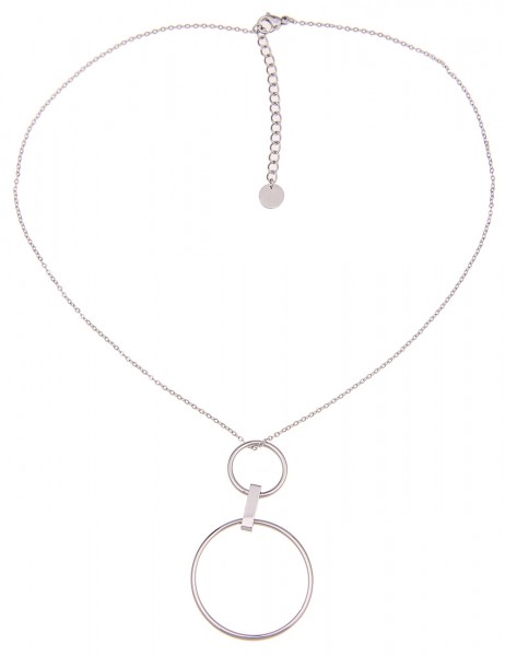 -50% SALE Leslii 4Teen Damenkette Doppel Ring aus Metalllegierung Länge 39cm in Silber