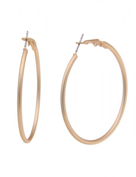 Leslii Damen-Ohrringe leichte Creolen Classic Kreolen mattierte Ohrringe goldene Modeschmuck-Ohrring
