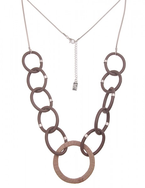 Leslii Damenkette Statement Leder-Ringe vegane Leder-Kette braune Halskette lange Modeschmuck-Kette