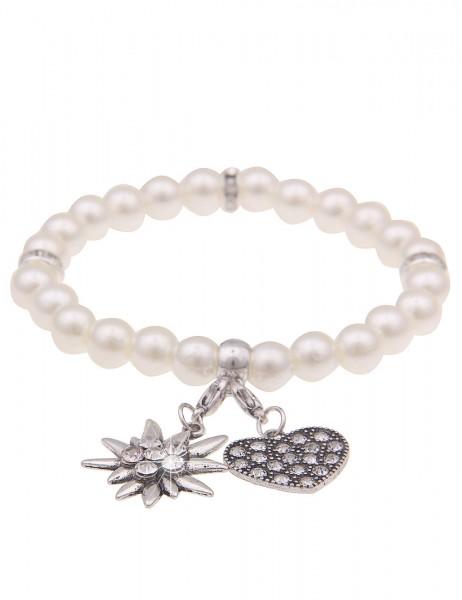 Leslii Damen-Armband Herz-Anhänger Edelweiß Oktoberfest Wiesn Dirndl weißes Perlen-Armband Modeschmu