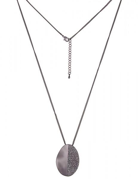 Leslii Damen-Kette Muster Oval Schwarz Metalllegierung Matt 83cm + Verlängerung 220117015