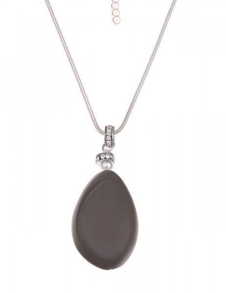 -50% Leslii Halskette Glitzer Grey Silber Grau | lange Damen-Kette Mode-Schmuck | 86cm + Verlängerun