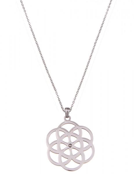 Leslii Halskette Muster-Look Silber   lange Damen-Kette Mode-Schmuck   85cm + Verlängerung