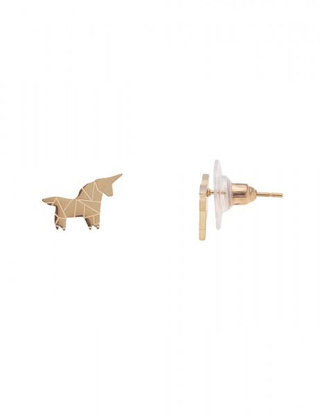 Leslii 4Teen Damenohrringe Ohrstecker Einhorn aus Metalllegierung Größe 1cm in Gold