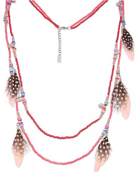 -50% SALE Leslii Damen-Kette Summertime Pink Bunt Perlen Federn 92cm + Verlängerung 220115941