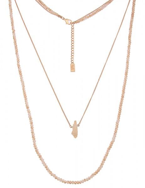 Leslii Damen-Kette Steinsplitter Gold Beige Glasperlen Metalllegierung 90cm + Verlängerung 220115695