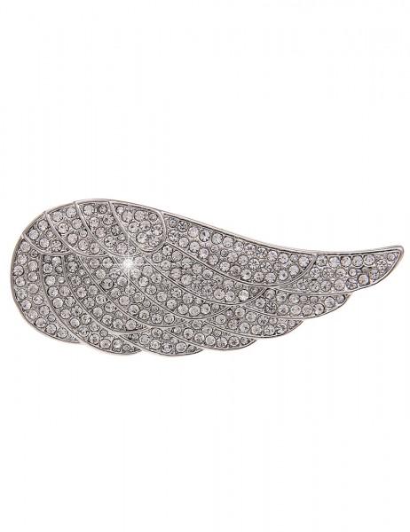Leslii Pin Magnet-Anstecker Glitzer Flügel Silber | Damen-Accessoires Mode-Schmuck | Größe: 6,7cm