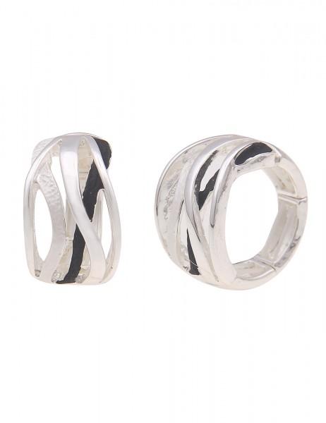 Leslii Damen-Ring breiter Statement-Ring Streifen-Muster Wellen-Muster silberner Modeschmuck-Ring in