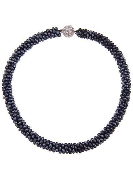 Leslii Damenkette Kristallkorn aus Glasperlen mit Strass Länge 44cm in Anthrazit