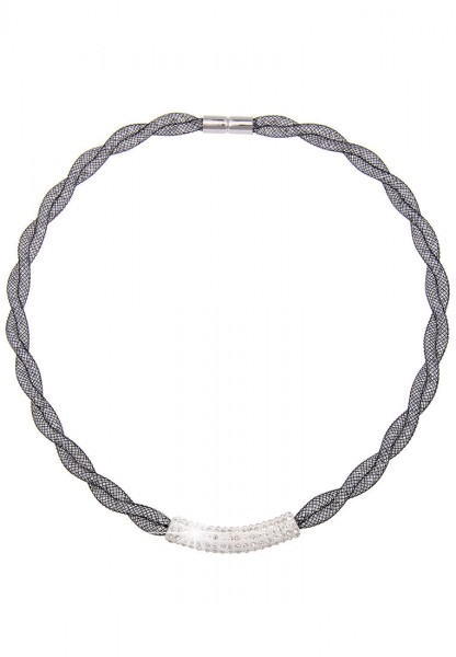 -50% SALE Kurze Halskette Glitzer Netz Geflecht Schwarz Weiß