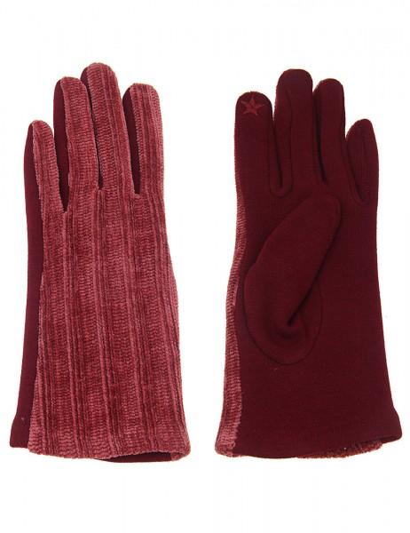 Leslii Damen Handschuhe Strickmuster aus Polyester Größe One Size in Dunkelrot