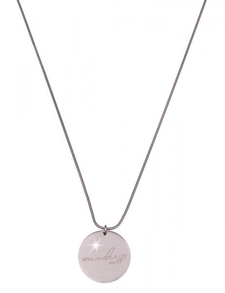 -70% SALE Leslii Damenkette Spruchkette Wundervoll aus Metalllegierung Länge 86cm in Silber