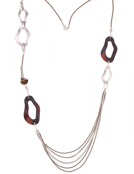 Leslii Damenkette Statement Modern Horn vegane Leder-Kette braune Halskette lange Modeschmuck-Kette