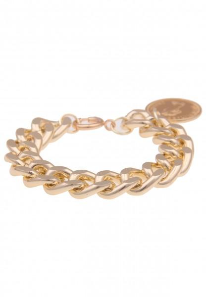 Leslii Damen-Armband Elizabeth Royals-Schmuck Münzen Glieder Statement-Armband goldenes Modeschmuck-