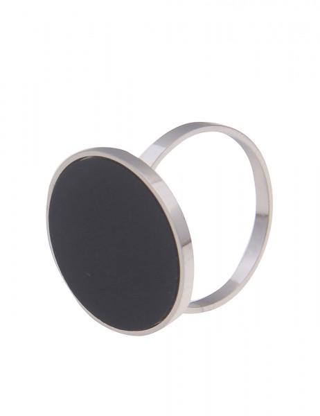 Leslii Damen-Ring Filigran Classic-Ring runde Scheibe schwarzer Ring silberner Modeschmuck-Ring in S