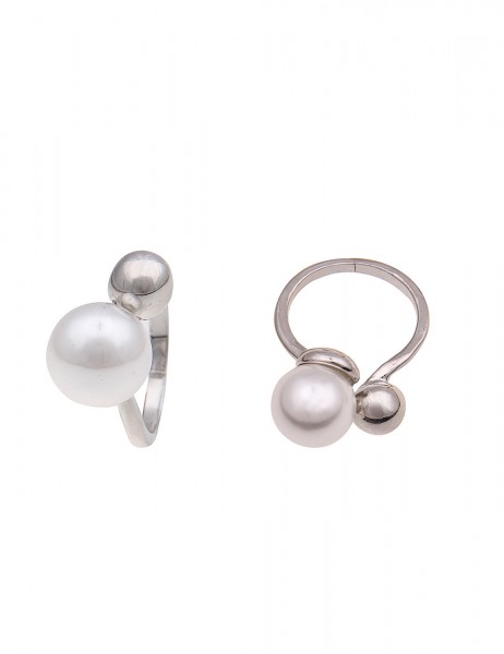 Leslii Damen-Ring Glanz Perle Silber Weiß Metalllegierung Größe 17mm 250116379