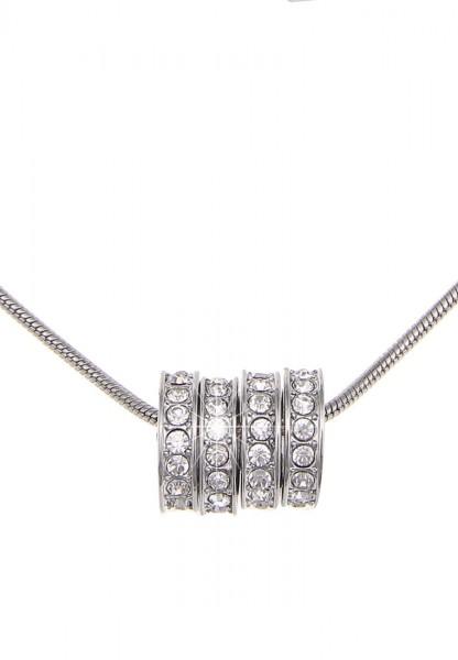 Leslii Halskette Glitzer Ringe Silber | kurze Damen-Kette Mode-Schmuck | 42cm + Verlängerung