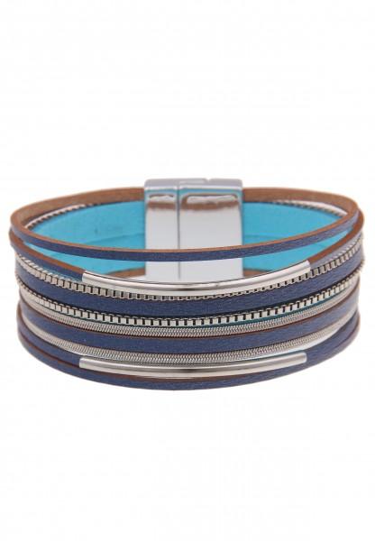 Leslii Damenarmband Fashion Statement veganes Lederarmband Modeschmuck-Armband Länge 19cm in Blau Si