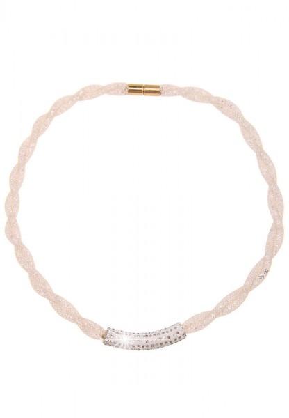 LAST CHANCE! Leslii Kurze Halskette Glitzer Netz Geflecht in Beige