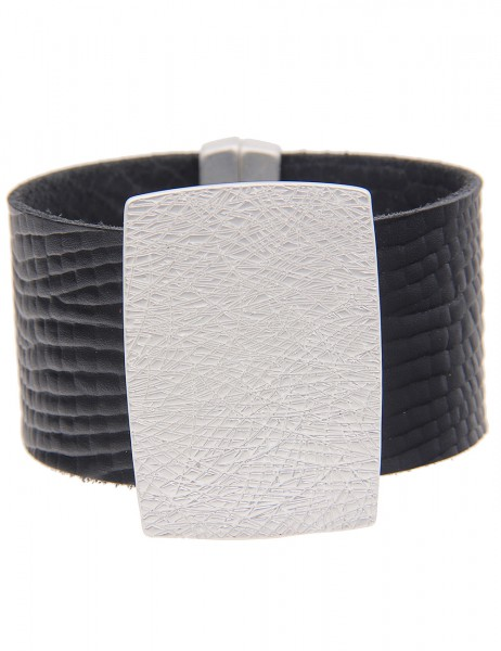 -70% SALE Leslii Armband XXL-Look Silber Schwarz | Damen-Armband Mode-Schmuck | Länge: 19cm