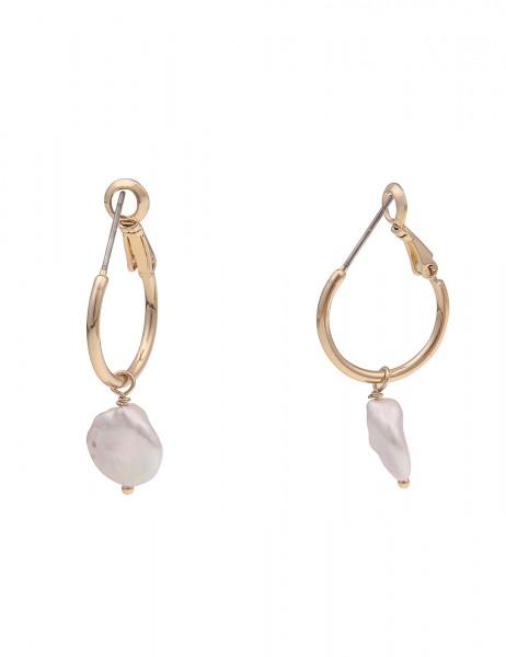 Leslii Damen-Ohrringe goldene Creolen weiße Perlen-Ohrringe 2in1 Ohrschmuck Modeschmuck-Ohrringe Län