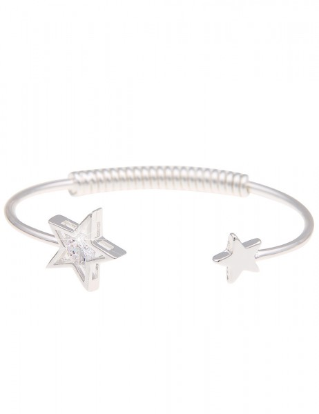 Leslii Armreif Sternenregen Silber | Damen-Armband Mode-Schmuck | Länge: 19cm