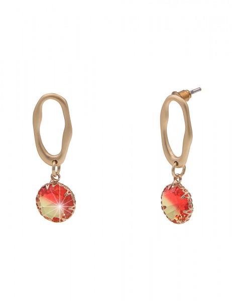 Leslii Damen-Ohrringe Ohrhänger Oval Glas-Stein Stein-Ohrringe goldene Modeschmuck-Ohrringe Ohrschmu