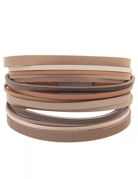 -50% SALE Leslii Damen-Armband Farbenspiel Braun Beige Lederimitat 19,5cm Magnetverschluss 260316104