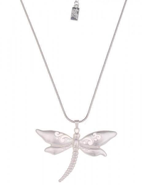 Leslii Halskette Libelle Silber | lange Damen-Kette Mode-Schmuck | 84cm + Verlängerung