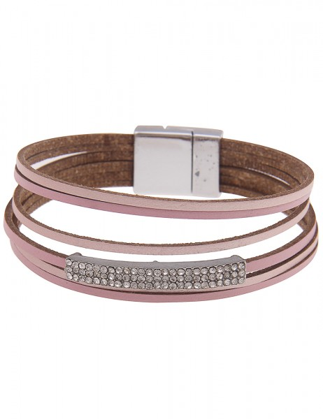 Leslii Damenarmband Fashion Glitzer veganes Lederarmband Strass Modeschmuck-Armband Länge 19cm in Ro
