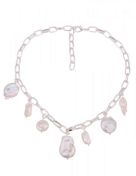 Leslii Damen-Kette Muschel Statement Glieder-Kette weiße Perlen-Kette kurze Kette silberne Modeschmu