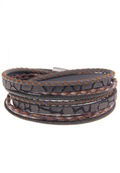Leslii Easy Grau | Trendiges Wickelarmband | Damen Mode-Schmuck | 40cm