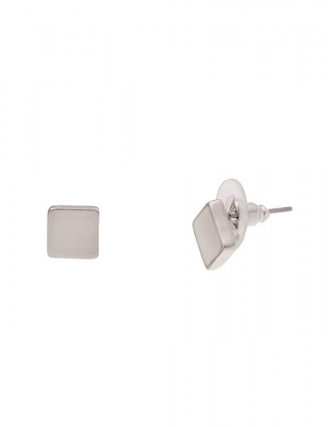 Leslii Damen-Ohrringe Ohrstecker Glanz Quadrat Silber Metalllegierung Hochglanz 0,7cm 230117038
