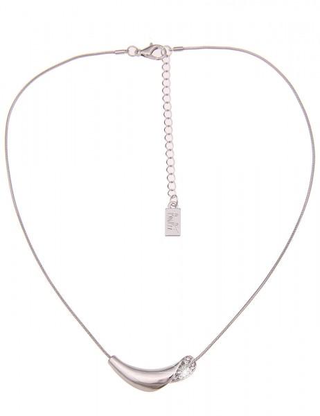 Leslii Damen-Kette Strass Look Silber Weiß Metalllegierung Hochglanz 44cm + Verlängerung 210116831