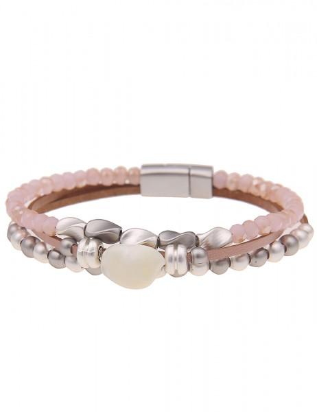 Leslii Damen-Armband Glasperlen echtes Perlmutt veganes Leder-Armband rosa Modeschmuck-Armband Armsc