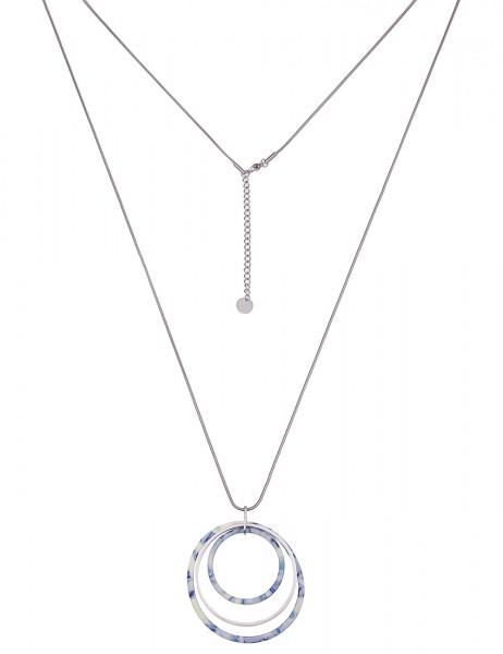 Leslii Damenkette Muster Ring aus Metalllegierung mit Kunststoff Länge 83cm in Silber Blau