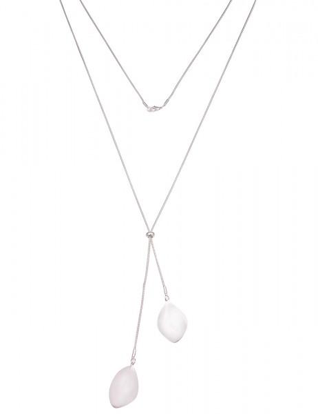 Leslii Damenkette Glanz Look aus Metalllegierung Länge 90cm in Silber Hochglanz